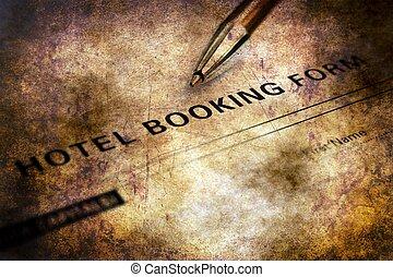 hôtel, concept, grunge, réservation, formulaire