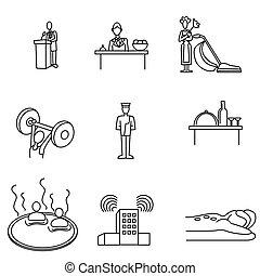hôtel, ensemble, icône