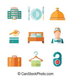 hôtel, ensemble, icônes