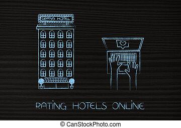 hôtel, ext, à, utilisateur, à, ordinateur portable, partir, a, positif, revue