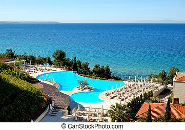hôtel, halkidiki, moderne, arbre, milieu, luxe, grèce, olive, piscine, natation