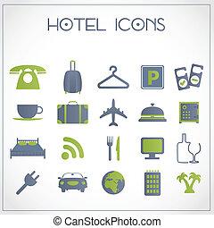 hôtel, icônes