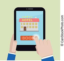 hôtel, livre, salle