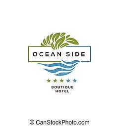 hôtel, logotype, recours, océan, conception, logo, côté