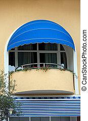 hôtel, luxe, balcon
