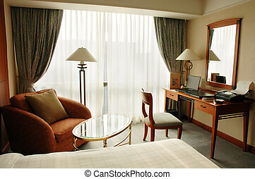 hôtel, luxe, salle