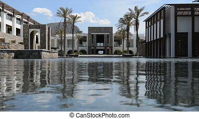 hôtel, moderne, luxe, piscine