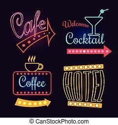 hôtel, néon, cocktail., illustration, isolé, vecteur, café, signes