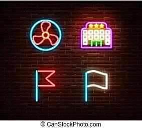 hôtel, néon, ventilateur, isolé, vecteur, drapeaux, signes
