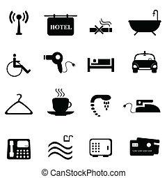 hôtel, noir, icônes