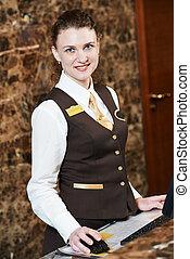 hôtel, ouvrier, carte principale