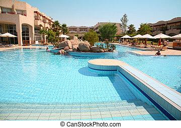 hôtel, parapluie, piscine