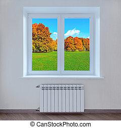 hôtel, parc, automne, fenêtre., paysage, vue