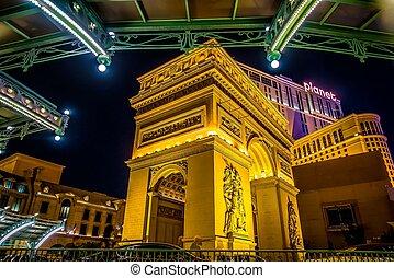 hôtel paris, vegas, nuit, nevada, las