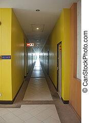 hôtel, perspective, long, couloir