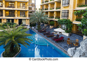 hôtel, piscine