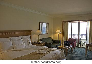 hôtel, plage, salle