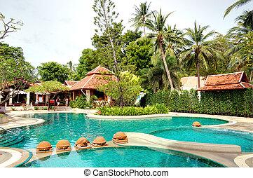 hôtel, samui ile, moderne, luxe, thaïlande, piscine, natation