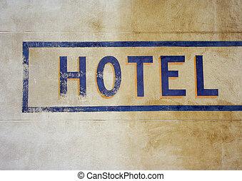 hôtel, signe