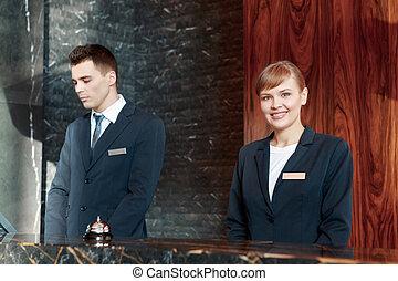 hôtel, travail, bureau réception