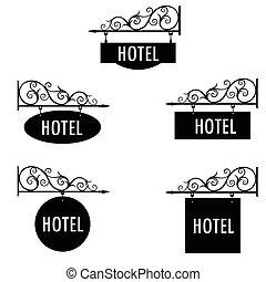 hôtel, vecteur, signe
