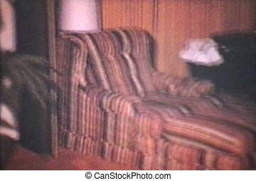 hôtel, vieux, salle, vendange, 8mm), (1975