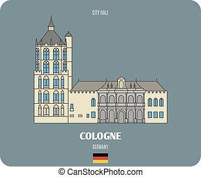 hôtel ville, villes, architectural, européen, symboles, cologne, germany.