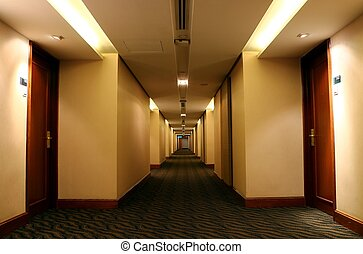 hôtel, vue, salle, long, couloir