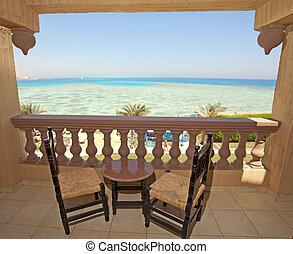 hôtel, vue, salle, mer, balcon