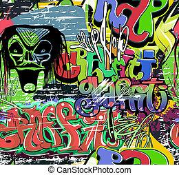 höft, urban, vägg, vektor, graffiti, humle
