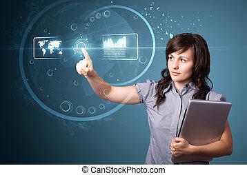 hög, affärskvinna, nymodig, knäppas, tränga, tech, typ