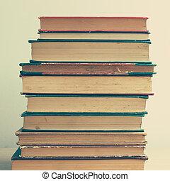 hög, av, årgång, böcker