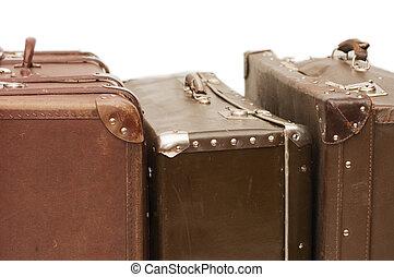 hög, av, gammal, suitcases, isolerat, vita
