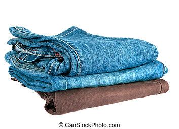 hög, av, jeans