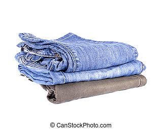 hög, av, jeans, isolerat, vita, bakgrund