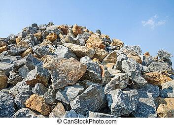 hög, av, rocks., för, construction.