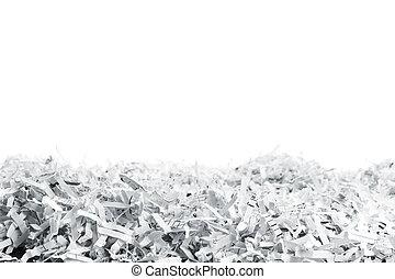 hög, av, vit, shredded, papper