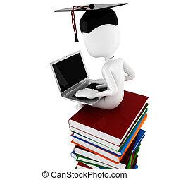hög, böcker, arbete, sittande, man, 3, laptop, hans