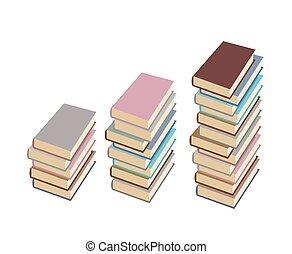 hög, böcker, vektor, sätta, vit, illustration, bakgrund.