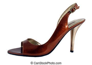 hög, damen, sko, häl