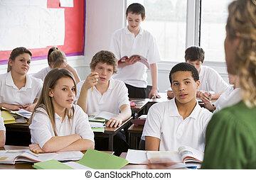 hög, deltagare, skolan klassificerar