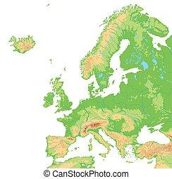 hög, detaljerad, europa, map., fysisk