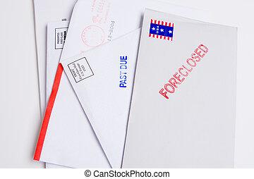 hög, foreclosed, isolerat, rakt, stampat, posta, förbi