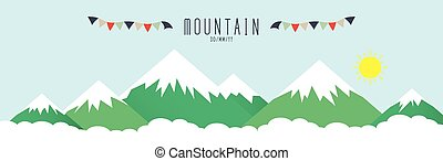 hög, höjande, mountains, snow.