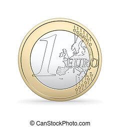 hög, kvalitet, render, av, a, 1, euro, mynt