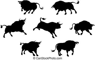 hög, kvalitet, tjur, silhouettes