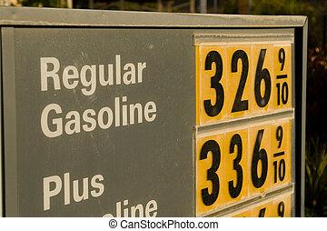 hög, pris, bensin