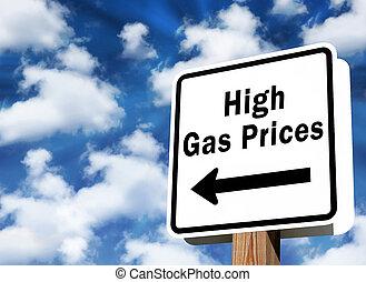 hög, priser, gas