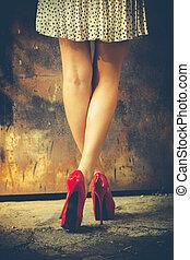 hög, röd, häl, skor