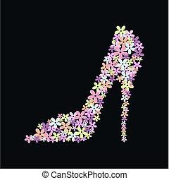 hög, sko, häl